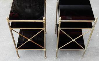 Antique 1950/70' Pair of Shelves has 3 levels Maison Bagués With Black Opaline