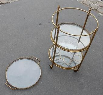 Antique 1950/70 Rolling Bar Brass Maison Bagués  3 Levels