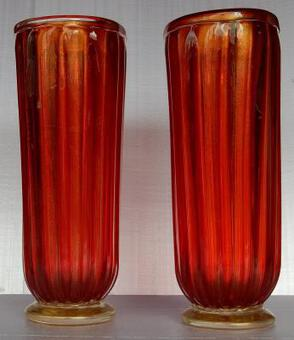 Antique 1970' Pair of Cristal Murano Urns Red And Gold sign Toso
