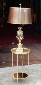 Antique 1950/70 Pin Apple  Bronze Lamp Signed  Charles & Fils