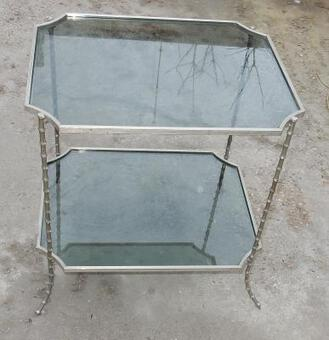 Antique 1950,70' Table model  Bamboo Maison Bagués Trays in Smoked Glass