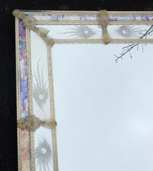 Antique 1970 Mirror In Falling Stars Style Véronese Rectangular Pareclose and Gilted Flowers 102 X 82 cm103 X 83 cm