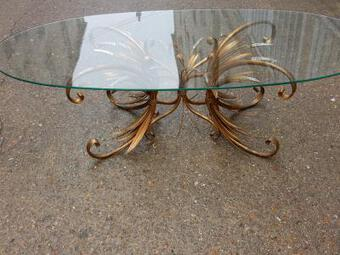 Antique 1970'  Cofee Table sheaf of wheat Gilted in The Style of Coco Chanel