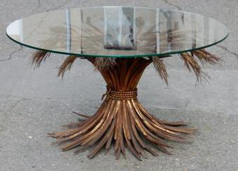 Antique 1970' Pedestal Table or Coffee Table in YSL  Style in Gilted Iron