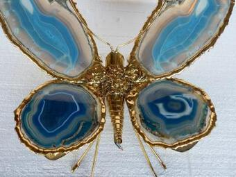 Antique 1970' Wall Lamp Butterfly by Fernandes or Duval Brasseur with Wings Blue Agates 38 X H 53 cm