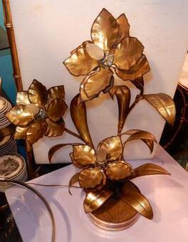 "Antique 1970 ""Plant Enlightening in Brass  Maison Jansen 3 Heads"