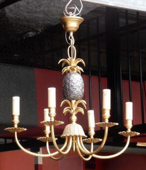 Antique 1950-1970 'Pair of Chandelier Pineapple in The Style of Maison Charles