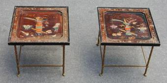 Antique 1950/70'  Pair of End of Sofa in the Style of Maison Bagués Lacquer of China 42 X42 cm