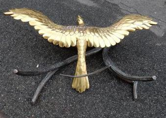 Antique 1982 ' Coffee Table Alain Chervet Eagle With Wings in the Spread  Ailes Déployées Brass and Iron