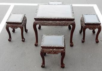 Antique 1920/1950 Table Domino Play China and Its 4 Stools Palissandre