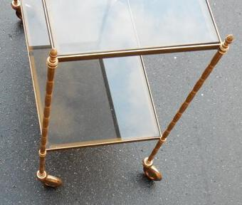 Antique 1950/70' Rolling Table in Brass and Smoked Glass Maison Bagués