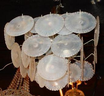 Antique 1950/70' Chandelier Vistosi, 35 crystals opalescents