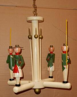Antique 1950' Chandelier Jacques  Adnet Soldiers by Suzanne Bonnichon