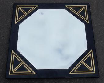 Antique 1970/80' Lacquered Frame and Beveled Mirror for Lancel Paris