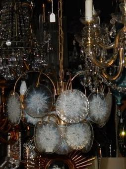 Antique 1970' Chandelier Vistosi 15 crystals opalescent