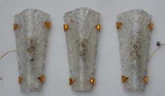 Antique 1960/70 3 Sconces glass and brass