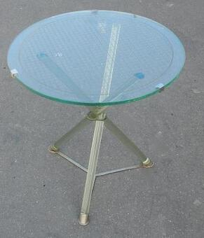 Antique 1930 ' Pedestal Table Art Deco Glass Modernists Attributed to Maison Jansen and Nickel-Plated Brass