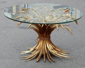 Antique 1970' Pedestal Table or Cofee Table in the Style Coco Chanel in Gilted Iron