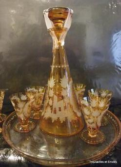 Antique BOHEMIAN CRYSTAL SERVICE