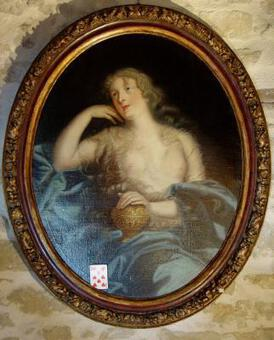 Antique 17th century french Painting, Portrait of a countess