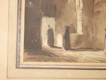 Antique DRAWING SIGNED FRANCOIS MARIUS GRANET