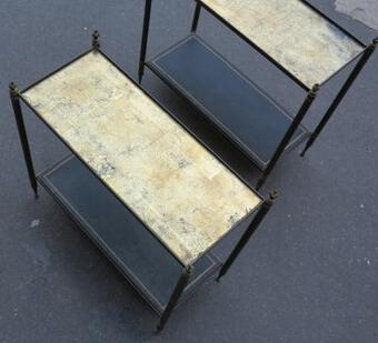 Antique 1950/70 Pair of Rectangular Ends of Sofa Maison Bagués Brass and  Trays with Gold Under Glasses with Olympic flames