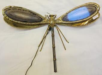 Antique 1970' Wall Lamp  Dragonfly Duval Brasseur with Wings Agates 38 X 42 cm