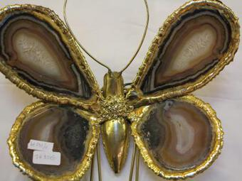 Antique 1970' Wall Lamp Butterfly Duval Brasseur with Wings Agates 38 X 42 cm