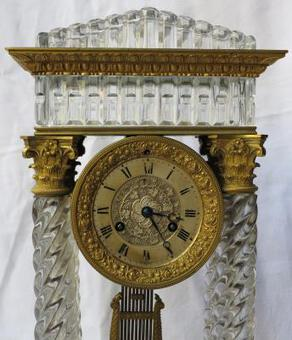 Antique 1830' Clock portico Charles X crystal Baccarat and golden bronze