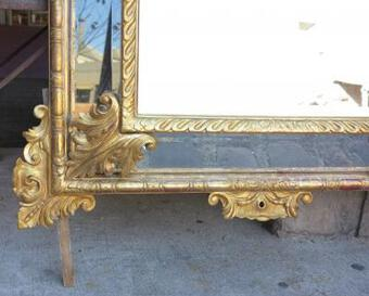 Antique 1880 Mirror parecloses mercury with shell gilted with sheet of gold 169x127 cm