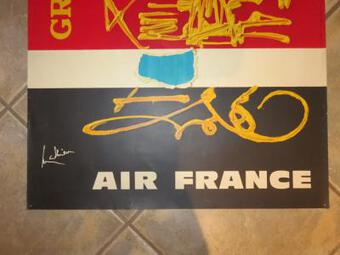 Antique POSTER FOR AIR FRANCA BY GEORGES MATHIEU
