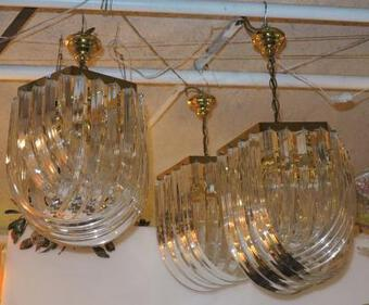 Antique 1970 ' 3 Gilted Iron  and Lucite Chandeliers shape with shells entrelats lanterns Style Design With Sticker Orion