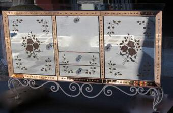 Antique 1950/70 Sideboard Mirror with eglomisées flowers