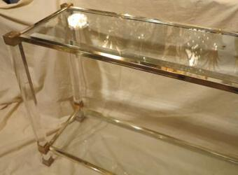 Antique 1970' Console Pierre Vandel lucite and guilted Ends