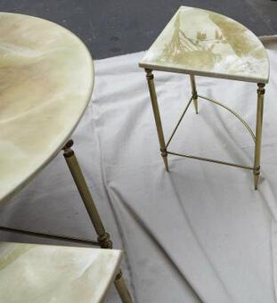 Antique 1950/70' Coffee table Maison Bagués bronze and her 4 angular tables