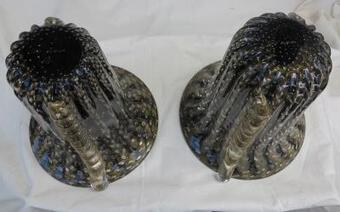 Antique 1970' Cristal Murano pair or similar vases black and gold sign Toso