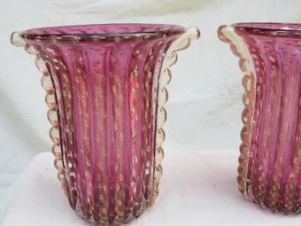 Antique 1970' Cristal Murano pair or similar vases purple and gold sign Toso
