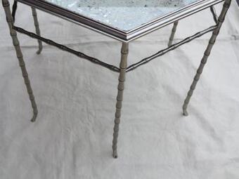 Antique 1950,70' Pair of Hexagonal pedestal table model  Bamboo Maison Bagués top oxyded and silvered mirror