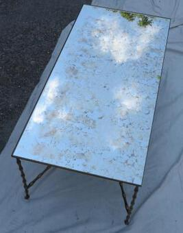 Antique 1950/70 Coffee table Maison Bagués model Bamboo in Bronze with top miror silvered oxyded