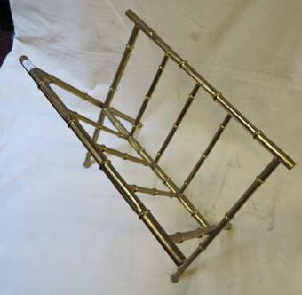 Antique 1970' Style Jacques Adnet modéle bamboo in polite brass carry newspaper