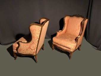 Antique PAIR OF LOUIS  XV STYLE ARMCHAIRS