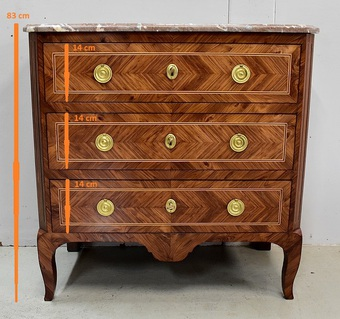 Antique FRENCH TRANSITION STYLE CHEST OF DRAWERS