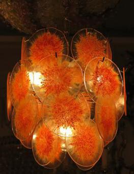Antique 1970'  Venini bowl chandelier in the Style of Vistosi 26 pieces
