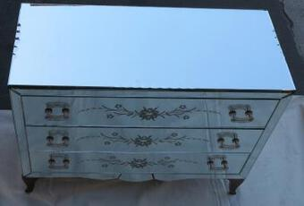 Antique 1960/70' Chest of drawers  art deco mirror 3 drawers decored at 6 handles