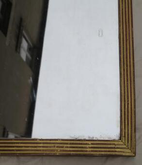Antique 18 th Mirror has flat and gilded channels, mirror Mercury 142 X 70 cm