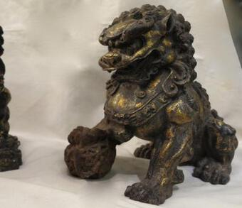 Antique 19th Pair of Dogs Fu or Chinese Lion in golden cast iron
