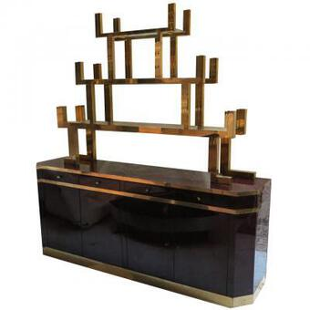 Antique Sideboard  lacquered dark purple style Aldo Tura signed  Roméo with étagére in gilded brass style japan