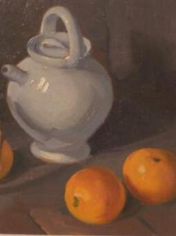 "Antique ""Pot of water, oranges and basket"" Jeanne guyot guillain. 20 th C"