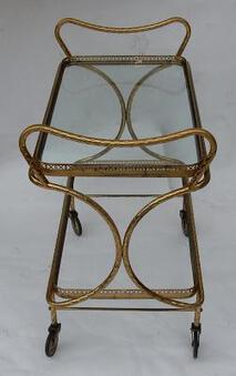 Antique 1970 'Rolling Bar in Bronze and Gilt Brass Maison Baguès Decor Art Nouveau