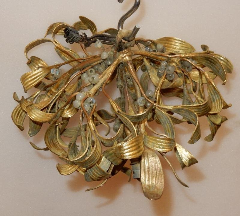 1900'  Ball of Mistletoe Art Nouveau Bronze has 3 Bulbs and Pearls Opaline  Diameter 30 cm